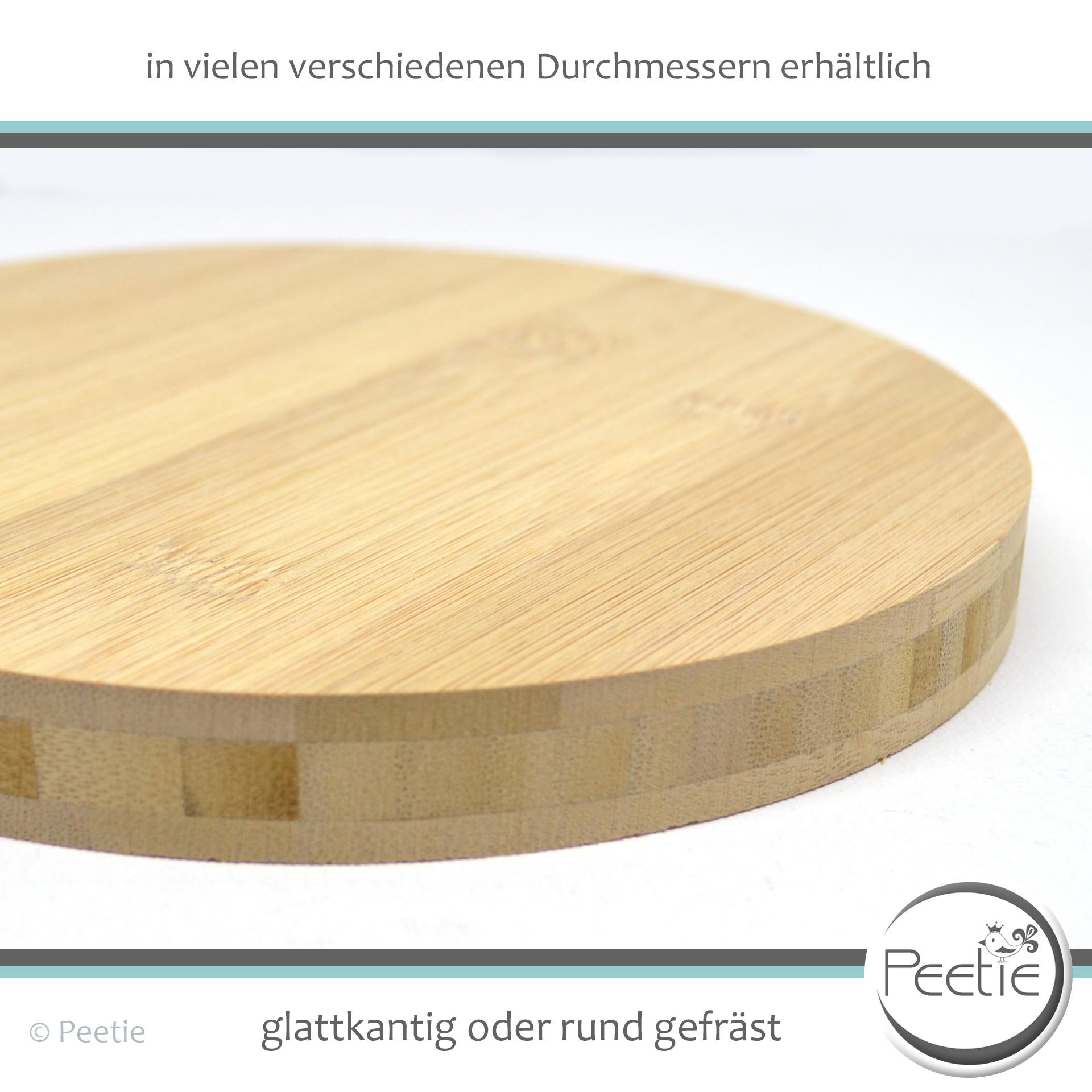 Peetie Holzdesign 1x Holzscheibe Bambus Leimholz 18 Mm Naturbelassen Unbehandelt Glatt